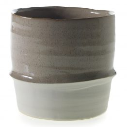 "6.75"" Joseph White and Brown Ceramic Pot"