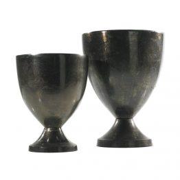 Black Metal Urn On Pedestal Base