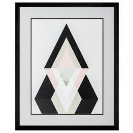 Blush Mountain Black White and Pink Geometric Art