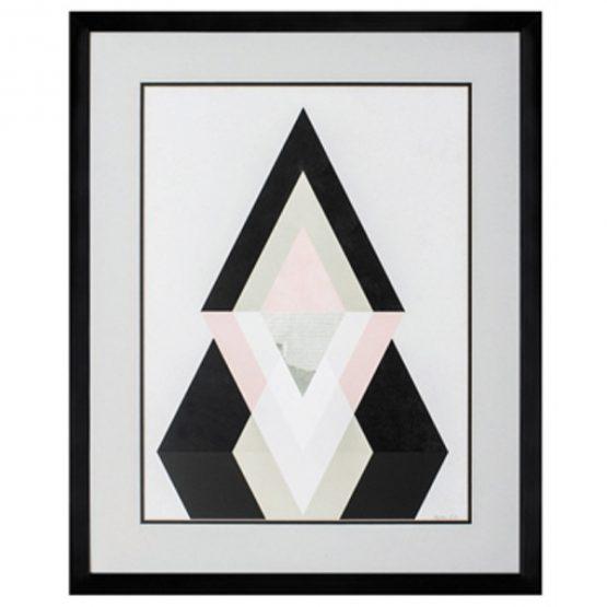 Blush Mountain Black White and Pink Geometric Art