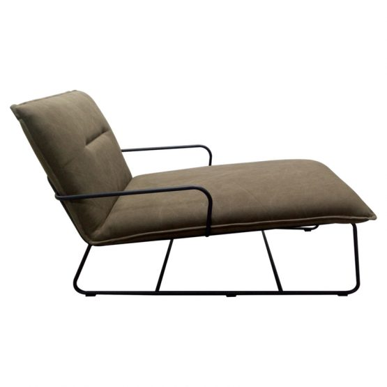 Elco gray chaise lounger on black metal base