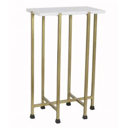 Shimmer White Marble & Brass Side Table Large
