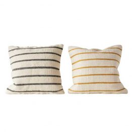 Greenport yellow and white striped and gray and white striped pillows