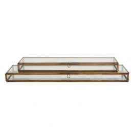 Flat rectangle brass and glass box