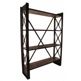 Reclaimed wood shelf with criss-cross metal base