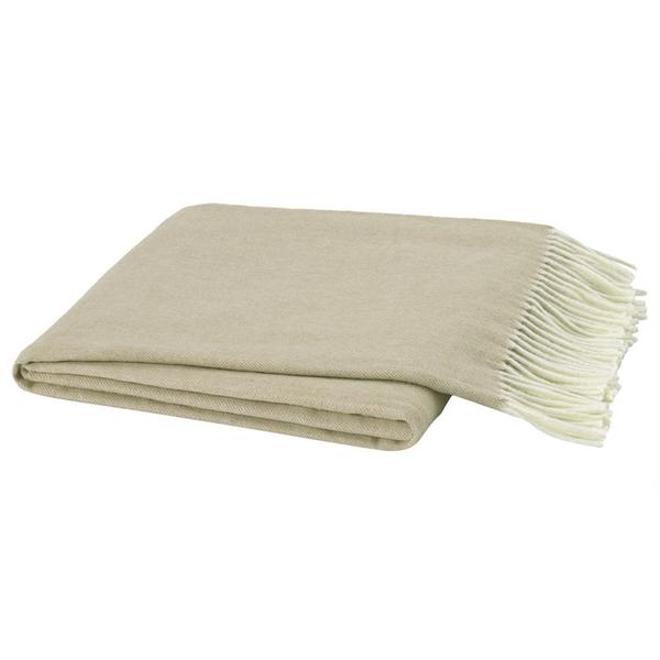 Beige herringbone cashmere throw