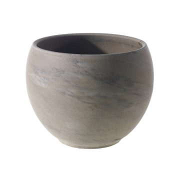 brown and gray swirled ceramic pot