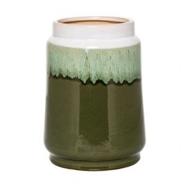 Green and white glazed ceramic vase