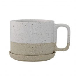 White and tan speckled stoneware mug