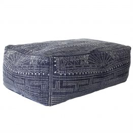 Indigo and white floor pouf