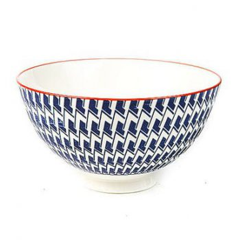 Geometric blue white and orange porcelain bowl