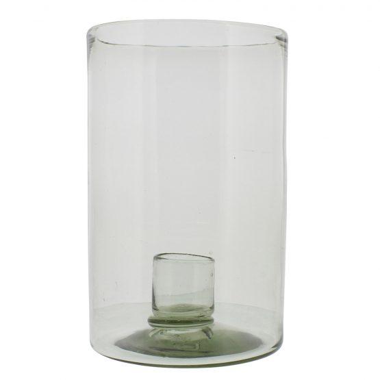 Beach glass hurricane candle holder