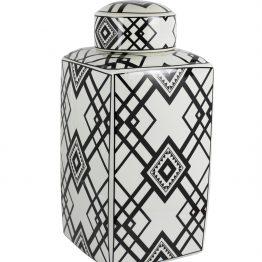 Black and white ginger jar