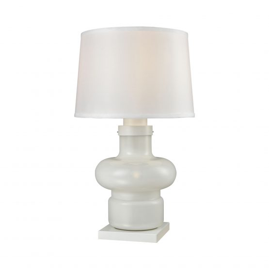 Contemporary white glass lamp with white shade