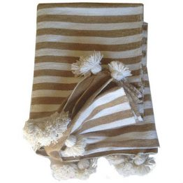 Beige and white striped Moroccan throw with white tassels
