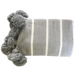 Gray and white striped Moroccan throw with gray tassels