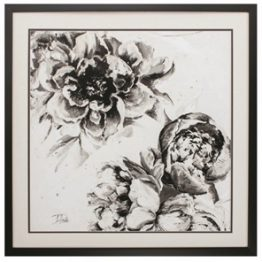 Black and white abstract floral art