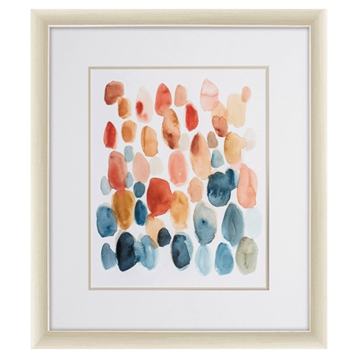 Katonah Orange & Blue Spotted Watercolor Art