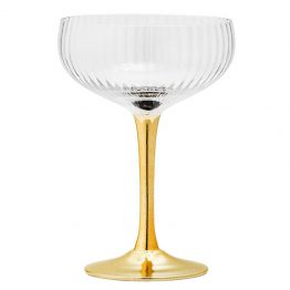 Champagne Glass with Gold Stem