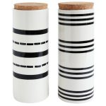 Black & White Striped Canister with cork lid