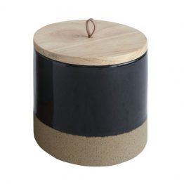 Black Wood and Stoneware Container