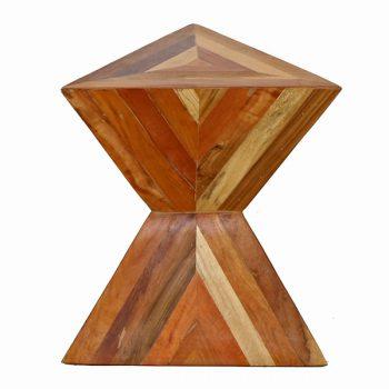 Giza Wood Double Pyramid Angled Side Table