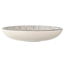 Blair White & Black Dotted Ceramic Bowl