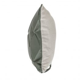 Green quilted leather lumbar pillow - side view