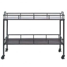 black metal bar cart on casters