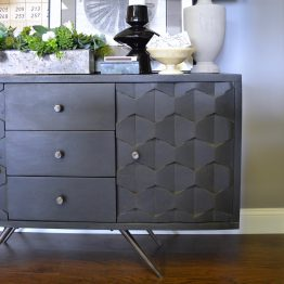 Black mid-century dimensional wood console table