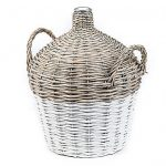 Glass jug wrapped in white and beige wicker