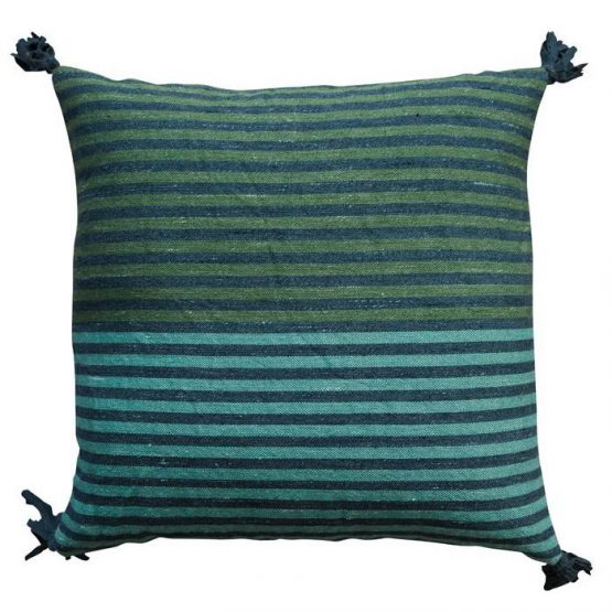 Green and blue striped throw pillow with tassels