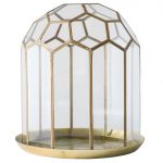 Brass & glass faceted dome cloche