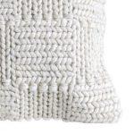 White classic stitch knit wool pillow corner