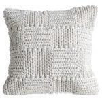 White classic stitch knit wool pillow