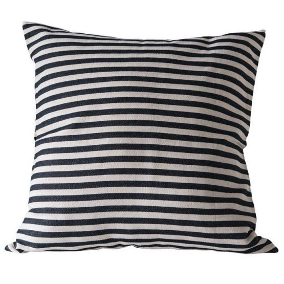 Classic black and white thin striped pillow