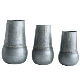 Galvanized metal & brass vase
