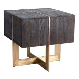 Manchester Wood and Brass End Table
