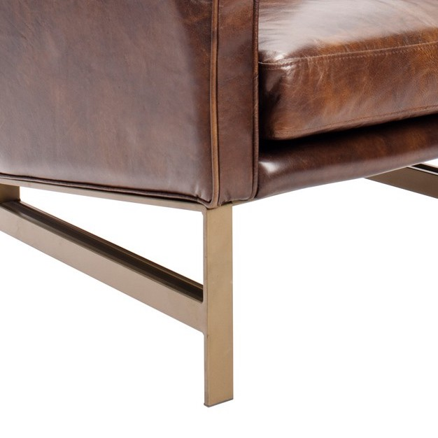 Tanner Brown Leather Contemporary Club Chair on Brass Base