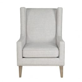 Catherine Gray Contemporary Club Chair with Nailhead Trim and Wood Legs