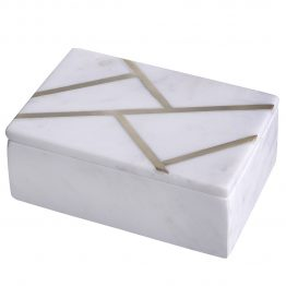 White marble and brass box
