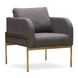 Christopher Heather Gray Chair Brass Base
