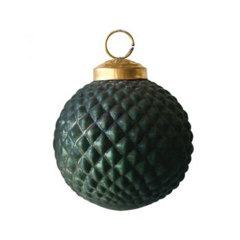 Emerald Green Quilted Glass Ornament