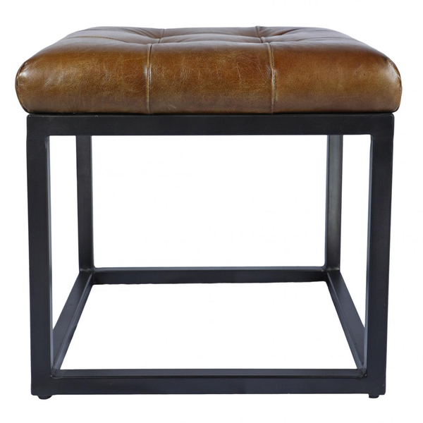 Hewlett Square Leather and Black Metal Stool