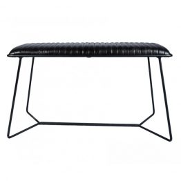 Black leather stool with black iron base