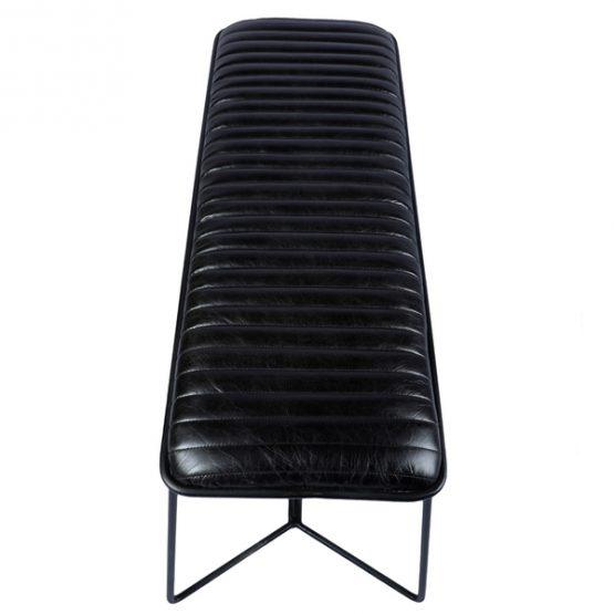 Black leather stool with black iron base