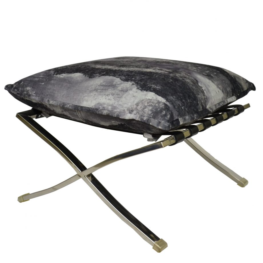 Barcelona base silver ottoman with black and gray cushion top