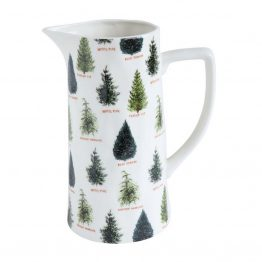 Ceramic pitcher with Christmas Trees on it