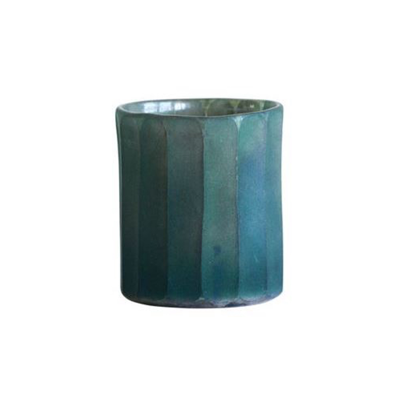 Green glass votive holder