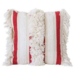 Red and white striped throw pillow with fringe